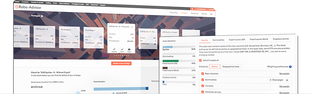 two screens robo-advisor platform